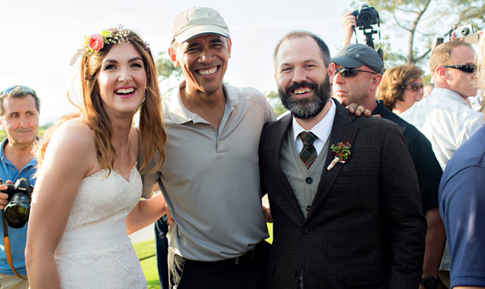 The president may have crashed a wedding, but the bride and groom didn't mind.