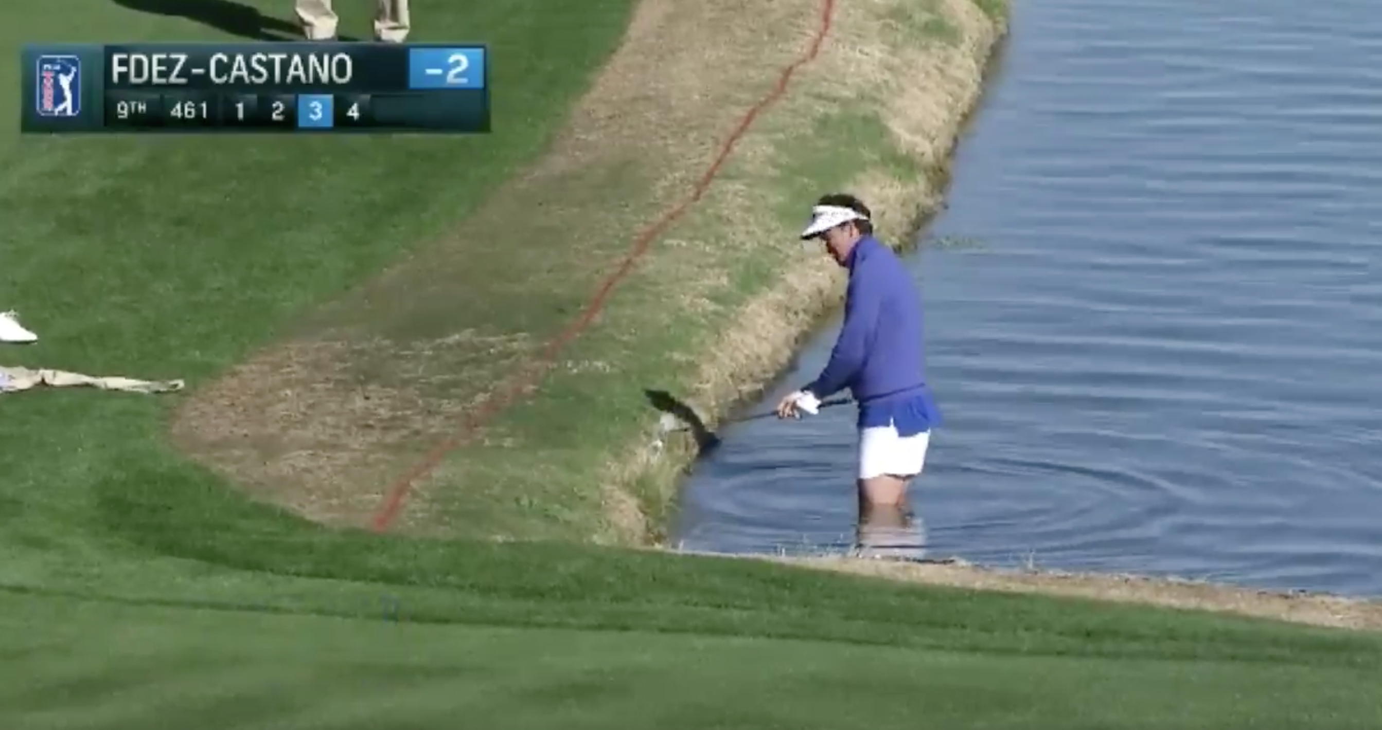 Gonzalo Fdez-Castano didn't let a little water hazard get in the way of his shot attempt.