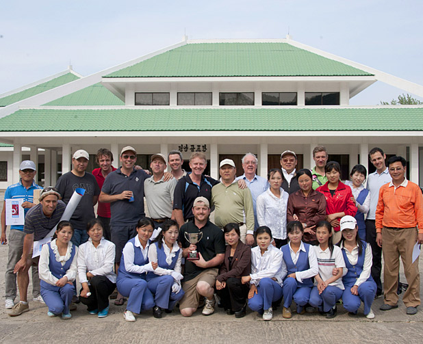 Participants, caddies and organizers at the 2012 North Korean Open. (Cred: Simon Jones)