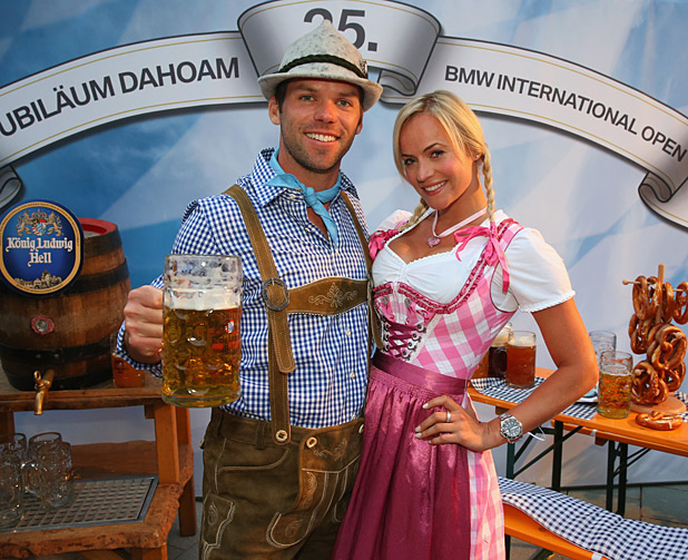 Paul Casey and Pollyanna Woodward at last year's BMW International Open. (Credit: Alexander Hassenstein/Getty Images)
