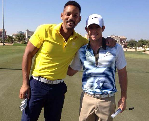 Rory McIlroy and Will Smith play golf in Dubai.