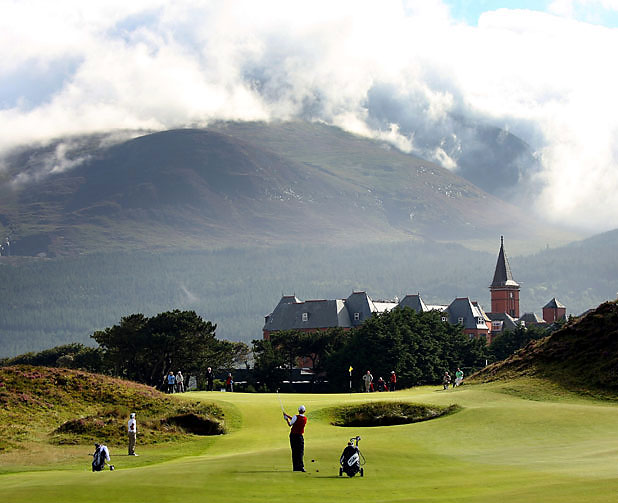 The spectacular view on the ninth hole at Royal County Down Golf Club in Newcastle, Northern Ireland.