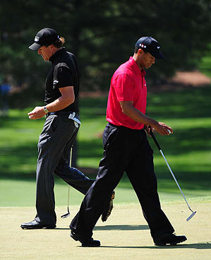Mickelson finished one stroke ahead of Woods at nine under par.