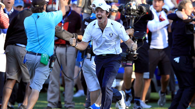 Rory McIlroy celebrates a European team win at the 2012 Ryder Cup held at Medinah.