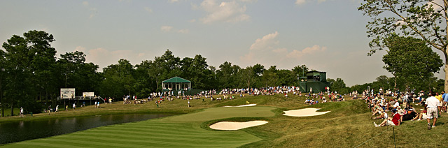Water was added to the par-3 16th last year to make it a tougher test.