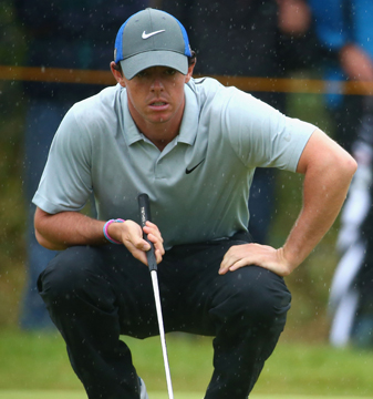 Rory McIlroy shot a third-round 68 at the British Open and leads by six shots.