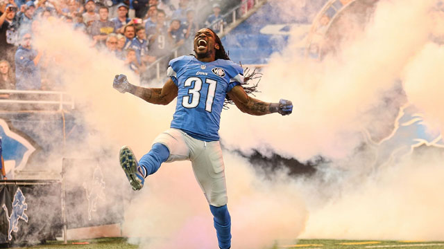 Rashean Mathis of the Detroit Lions runs onto the field during introductions prior to the start of the game against the Green Bay Packers at Ford Field on Sept. 21.