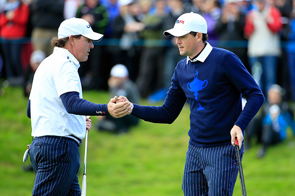 Phil Mickelson and Keegan Bradley rallied to win their opening match against Sergio Garcia and Rory McIlroy.