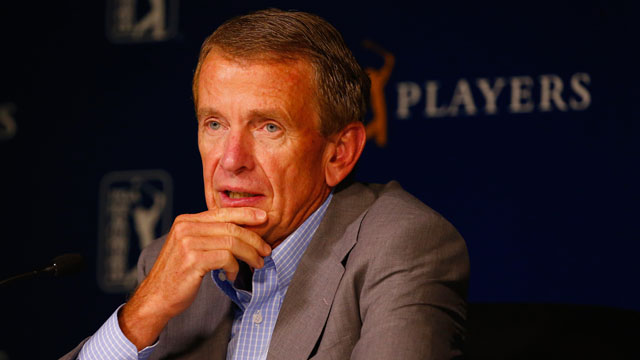 Tim Finchem addresses the media at the 2014 Players Championship.