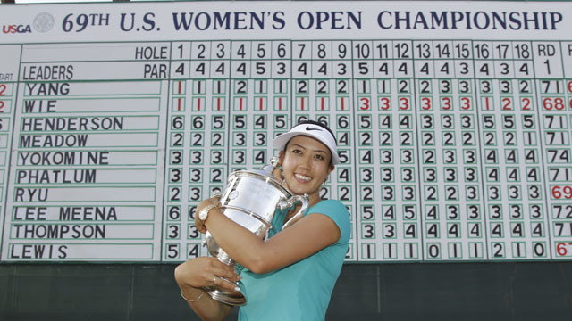 Michelle Wie celebrates after her two-shot U.S. Open victory at Pinehurst No. 2.