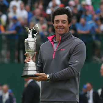 Rory McIlroy holds the Claret Jug after his two-shot victory at the British Open.