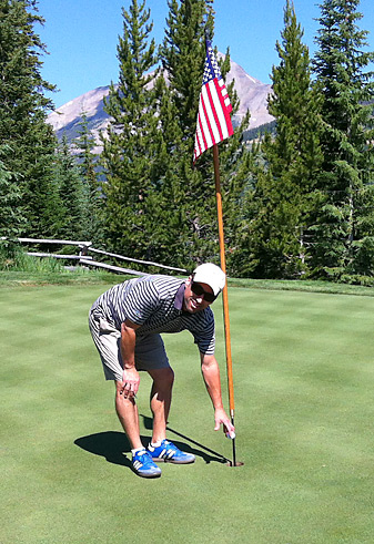 The author has this photo to remember his ace at the 11th hole at Yellowstone Club in Big Sky, Mont., but he didn't get the kind of celebration he was hoping for.