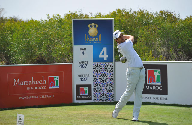 Alejandro Canizares of Spain plays a shot during the third round of the Trophee Hassan II in Agadir, Morocco.
