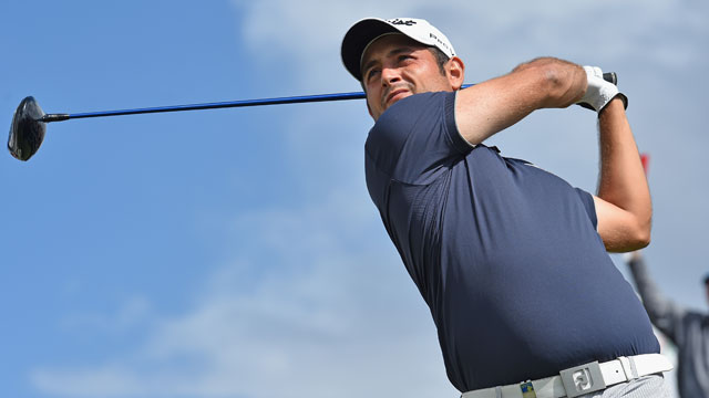Alexander Levy tees off on the first hole of the later-abandoned final round of the Portugal Masters.