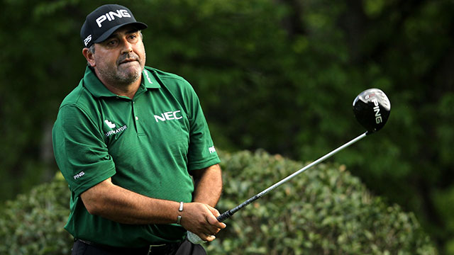 Angel Cabrera tees off on the fifth hole. His last Tour win came at the 2009 Masters.