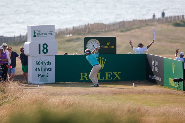 Bernhard Langer extended his Senior British Open lead to eight shots at Royal Porthcawl.