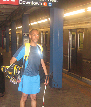 Suleiman Rifai in the New York City subway en route to Chelsea Piers
