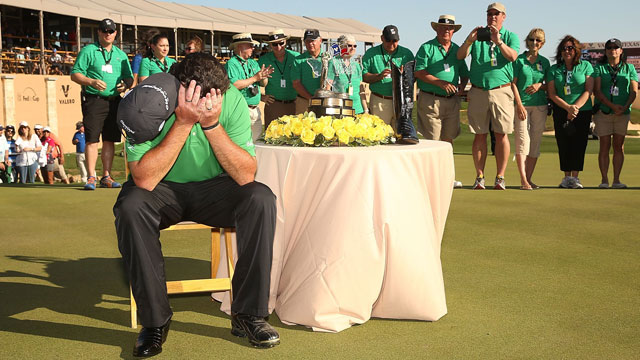 Steven Bowditch smiles after taking his second shot on the 18th during the third round of the Valero Texas Open.