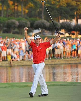 Keegan Bradley won in his first start at a major and became the first player to win a Grand Slam event with a putter anchored to his stomach.