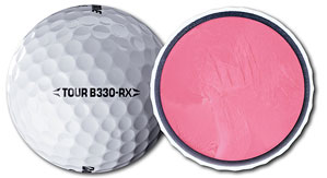 The large core (pink) and soft Urethane cover of the three-piece B330-RX are designed to help golfers who don't swing like tour pros get more distance off the tee without sacrificing control around the greens.
