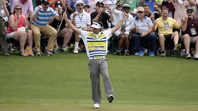 Bubba Watson celebrates his birdie putt on No. 14 at Augusta National.