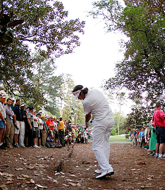 Bubba Watson's homemade swing produced this shot out of the pines that eventually won him the Masters.