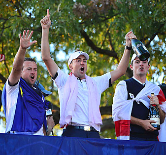 Ian Poulter (center) went 4-0 for the week at the Europeans completed an improbable comeback on Sunday.