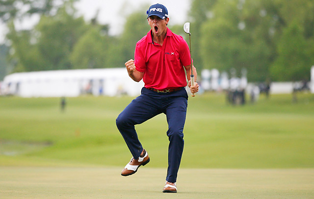 Billy Horschel celebrating after draining a 27-footer for birdie on the final hole for a one-shot win.