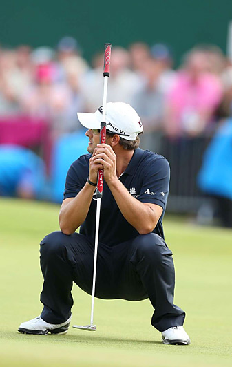 Adam Scott missed this putt on 18 that sealed his one-stroke loss to Ernie Els at the British Open.