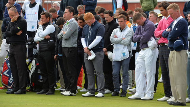 A moment of silence was held for caddie Ian MacGregor after he tragically died on the course.