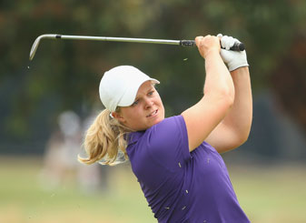 Caroline Hedwall of Sweden plays an approach shot on the 9th hole during the second round of the  Australian Open.