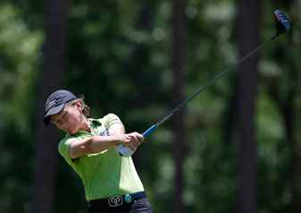 Catriona Matthew of Scotland tees off the ninth hole during round one of the Airbus LPGA Classic in Mobile, Alabama.