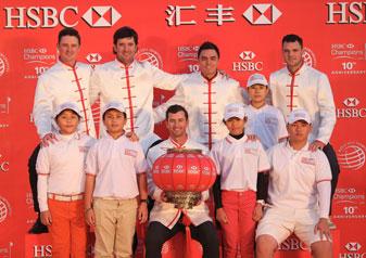 Chinese Golf Association juniors join Justin Rose, Bubba Watson, Adam Scott, Rickie Fowler and Martin Kaymer prior to the WGC - HSBC Champions.