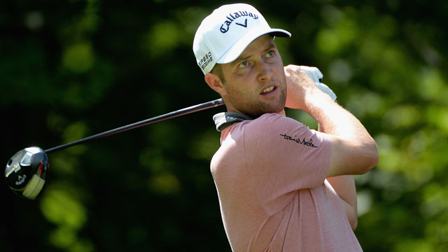 Chris Kirk tees off on the second hole during the final round of the Deutsche Bank Championship.