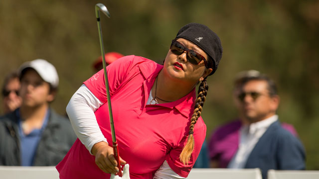 Christina Kim watches her tee shot on the fifth hole during the final round of the Lorena Ochoa Invitational.