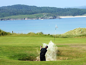 Escaping a bunker on the 3rd at Rosapenna in Ireland