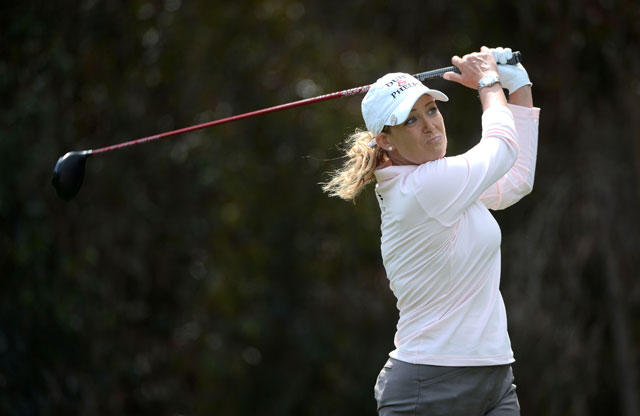 Cristie Kerr hits her tee shot on the fifth hole during the third round of the KIA Classic.