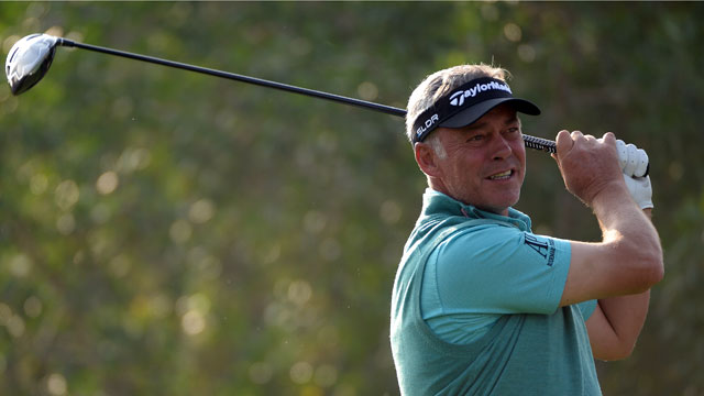 Darren Clarke watches his shot in the first round of the Abu Dhabi HSBC Golf Championship on Jan. 16.