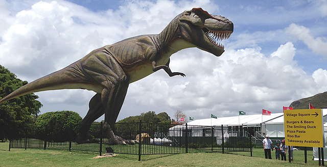A 26-foot mechanical T-Rex looms between the ninth green and 10th tee at the Australian PGA this week.