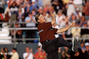 Ernie Els overcame the elements, and tough competition in a playoff, to win the 2002 British Open at Muirfield.