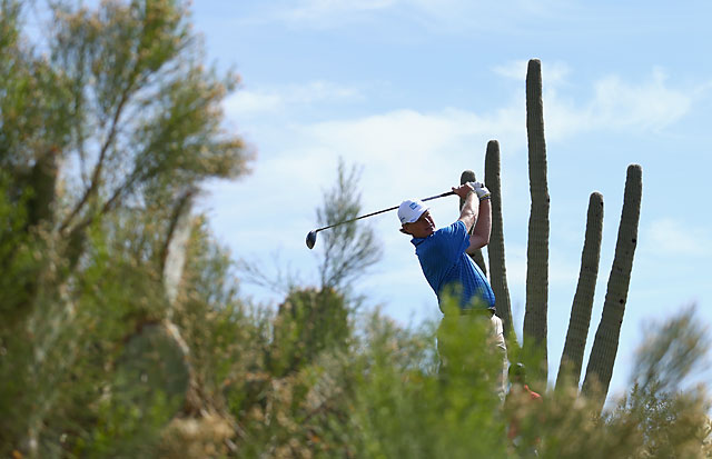 Ernie Els hits a tee shot on the second hole of his quarterfinal victory over Jordan Spieth.