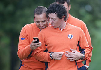 Sergio Garcia and Rory McIlroy at the second preview day of the 39th 2012 Ryder Cup in Medinah, Illinois.