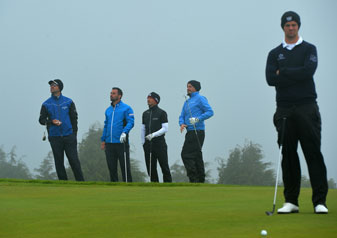 Anthony Snobeck, Thomas Linard, Jerome Lando Casanova and Michael Lorenzo Vera all of France, play pitch and putt on the practice ground during a fog delay at the Madeira Islands Open.