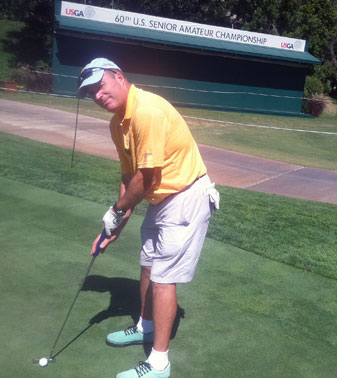 Gary Van Sickle fine-tunes his game before playing in this U.S. Senior Amateur.