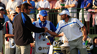 Sergio Garcia shakes hands with Europe team captain Nick Faldo before teeing off at the first hole during the opening round of the 2008 Ryder Cup.