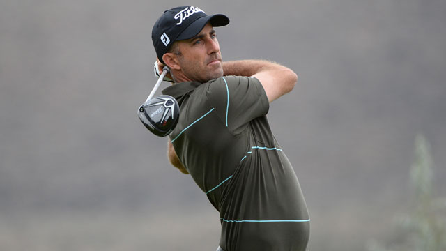 Geoff Ogilvy tees off on the second hole during the final round of the Barracuda Championship on Sunday.