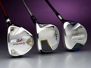 From left to right: TaylorMade R9, Nike SQ Machspeed, Cleveland DST fairway woods