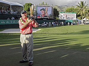 Paul Goydos was all smiles in January after winning the Sony Open in Hawaii.