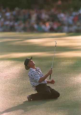 Greg Norman famously led the 1996 Masters by six shots on Sunday before Nick Faldo won by five.