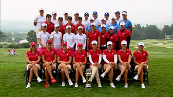 International Crown Teams pose for a group picture after practice rounds this week.